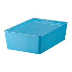 KUGGIS 附蓋收納盒, 藍色/塑膠-IKEA