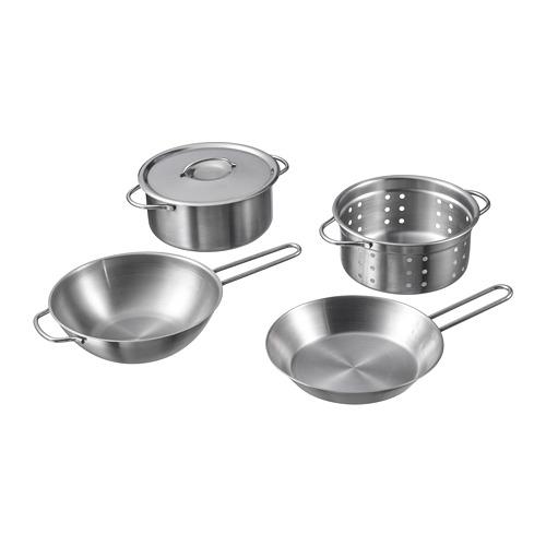 鍋具玩具 /5件組, , 不鏽鋼色