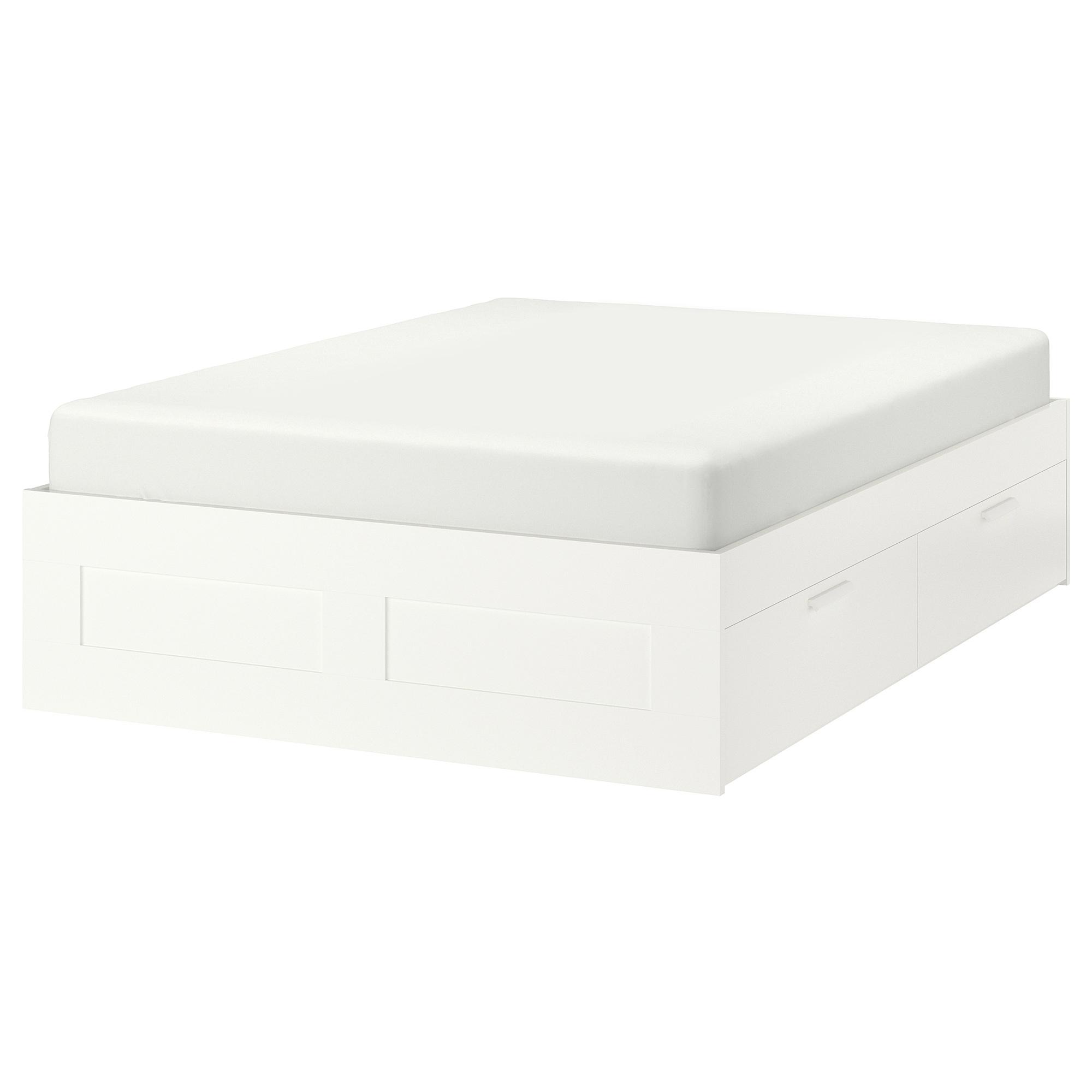 床框附抽屜(床中柱、床底枝條需另購), , 白色, 150x200 公分, 另有180x200 公分可選擇